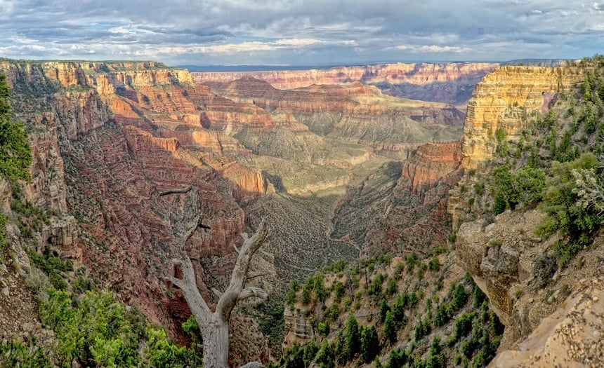 North Rim with Cloudy Background