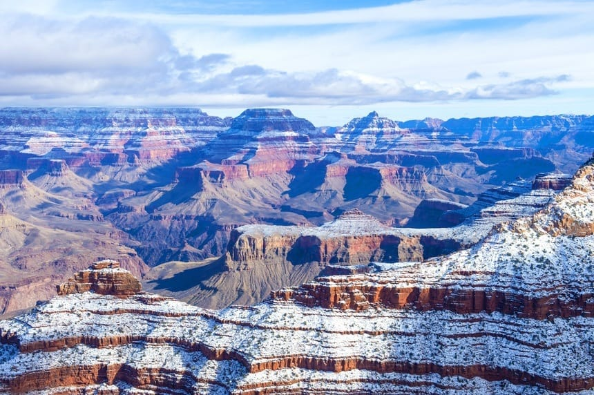 The Grand Canyon National Park in the Snow