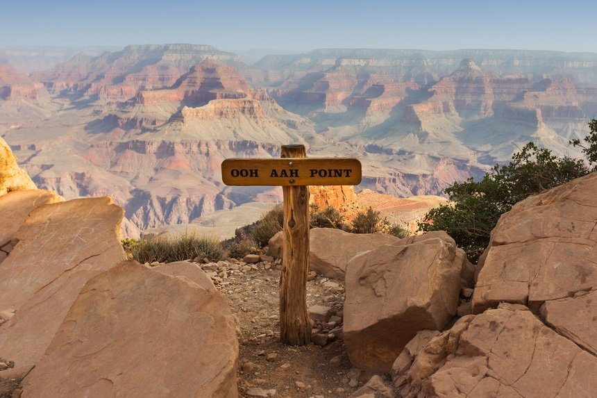 Ooh Aah Point on the Grand Canyon South Kaibab Trail with background rock formations.