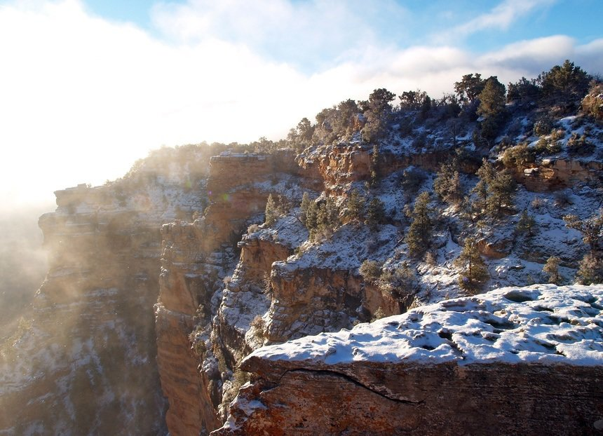 Grand Canyon in Arizona Snow Topped Mountains