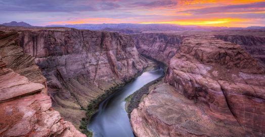 Colorado River, Horseshoe Bend at Sunset