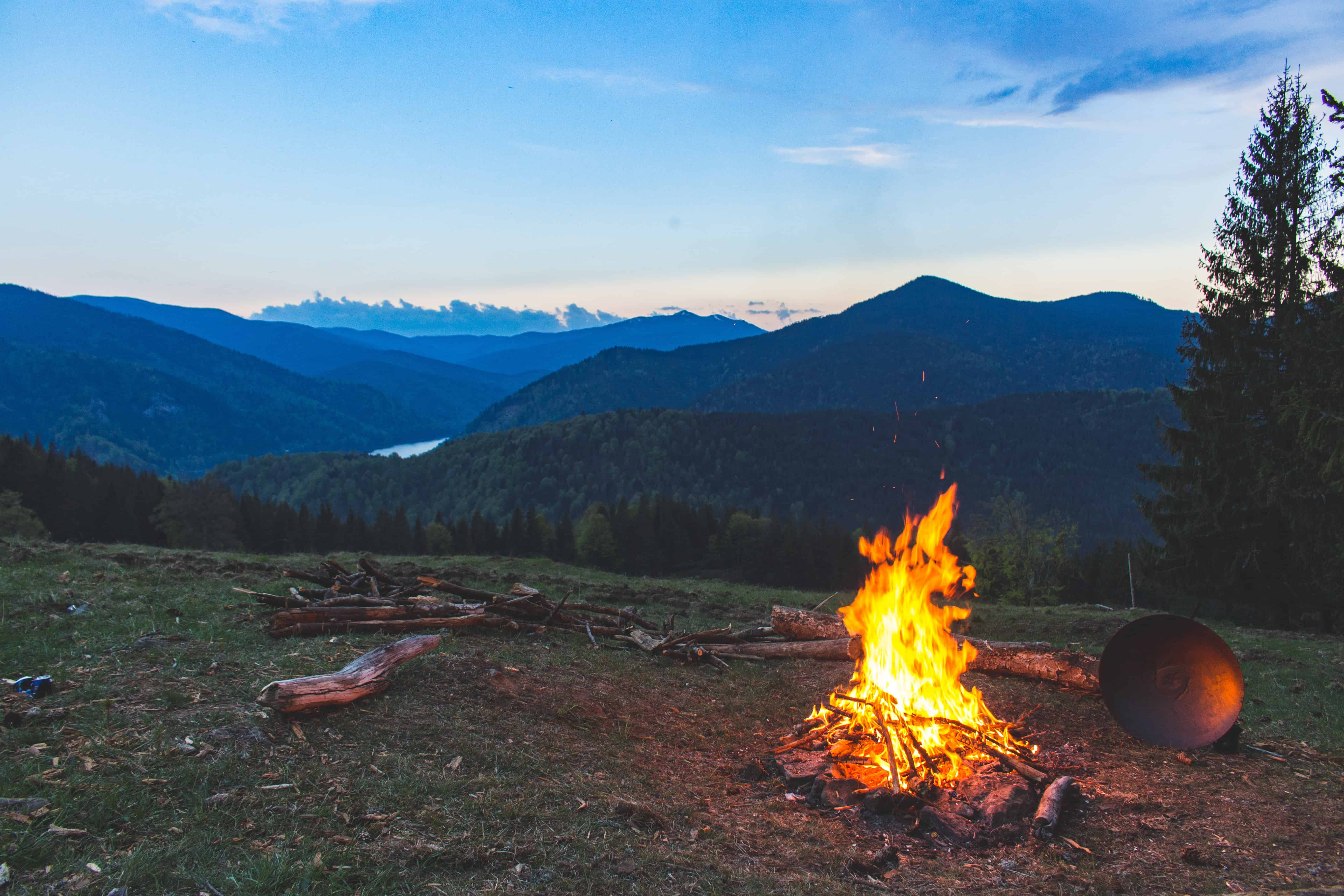 bonfire at the side of the mountain