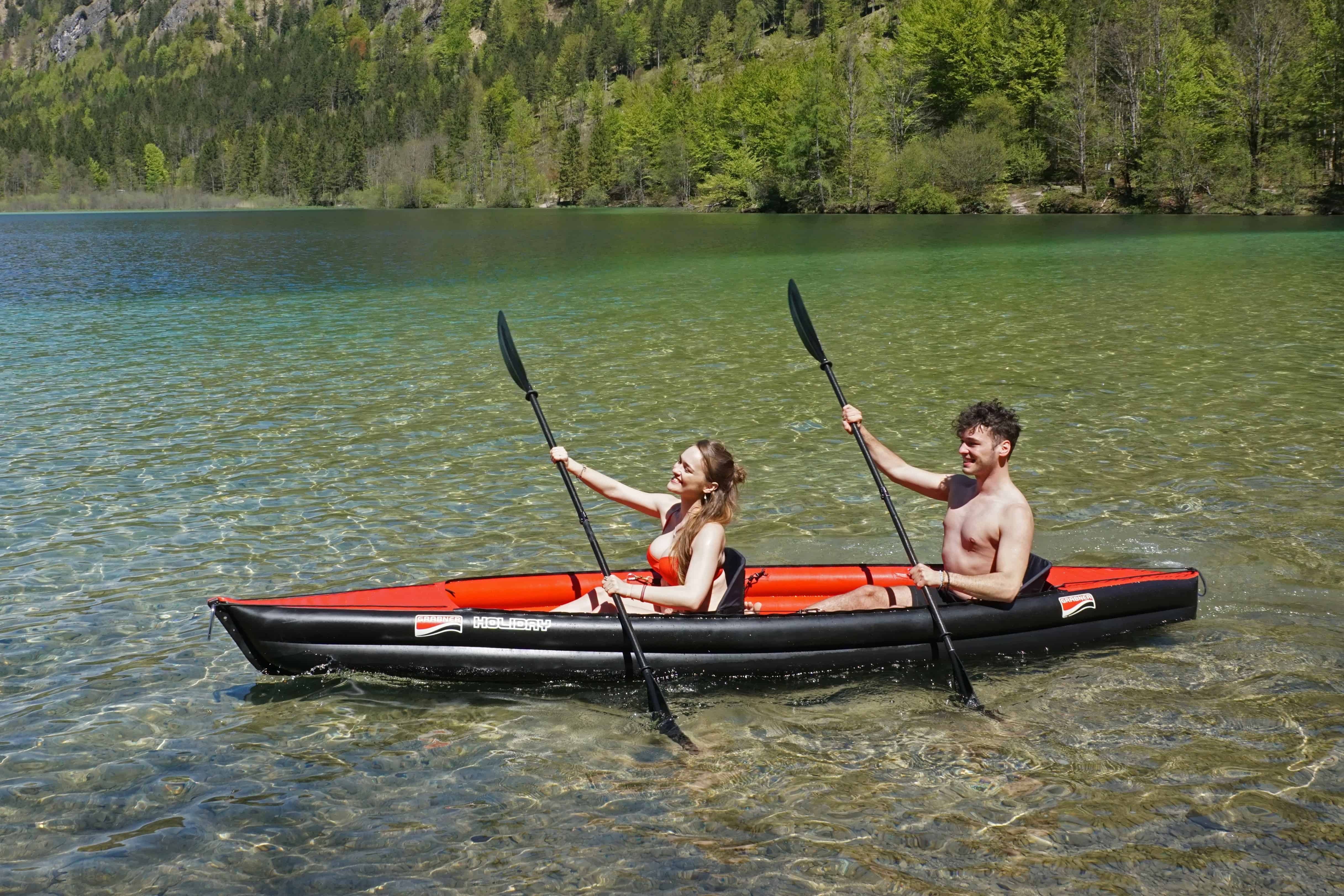 couple paddling the best inflatable kayak