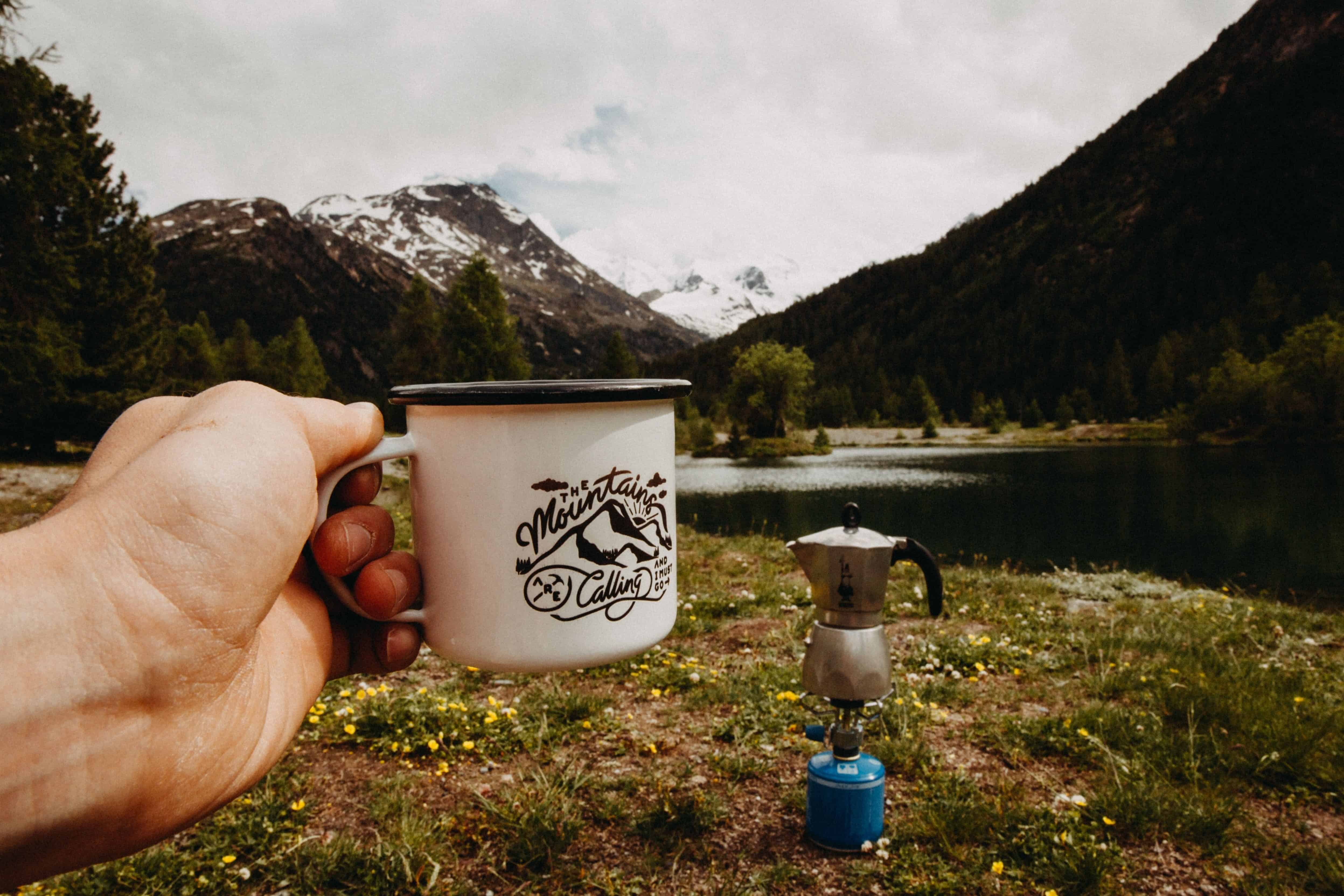drinking coffee during camping