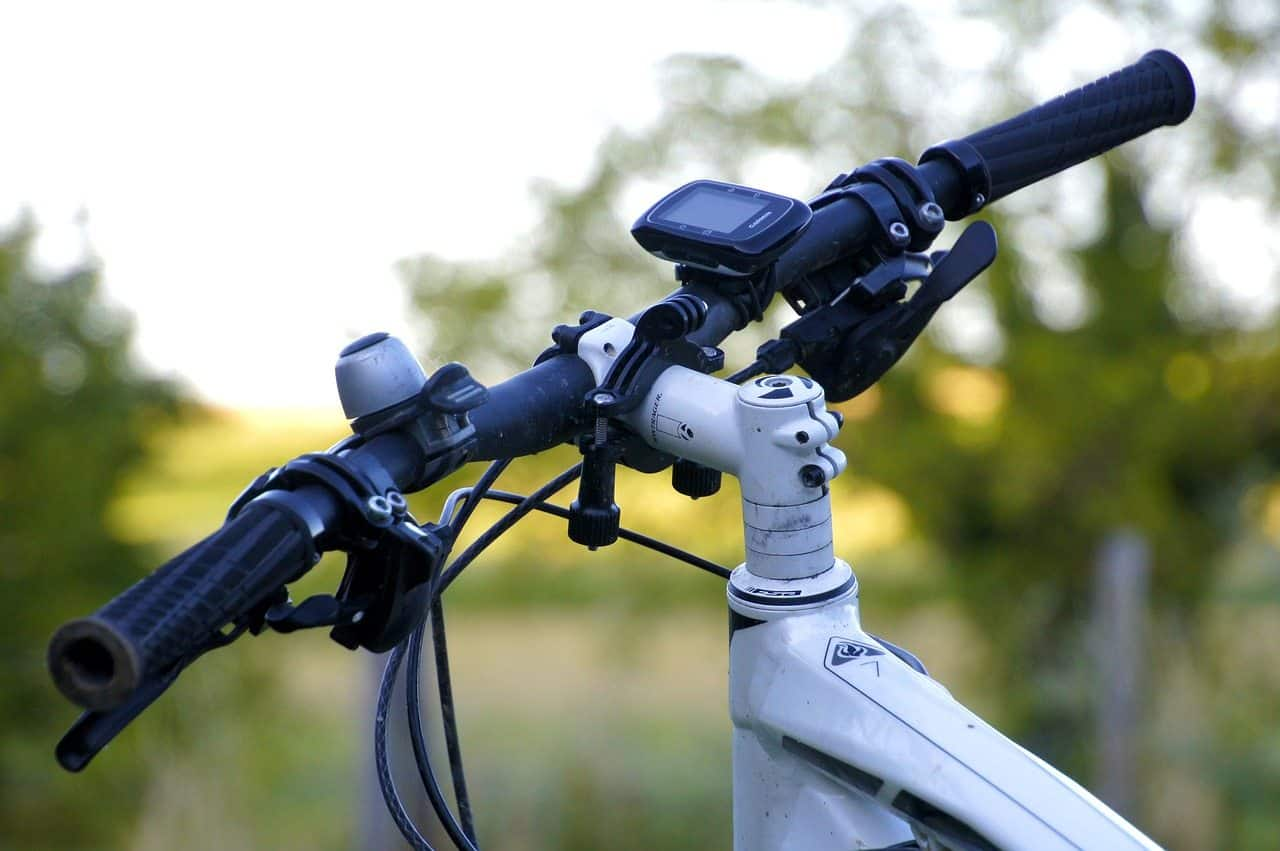 handheld gps on a mountain bike