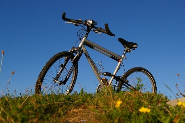 mountain bike on a green field