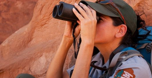 woman using a binocular