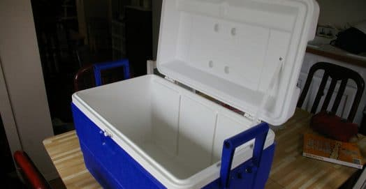 an empty ice cooler